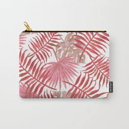 Red Tropical Palm Leaves Carry-All Pouch