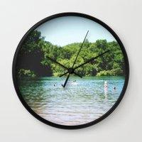 swim Wall Clocks featuring Swim by Christine Hall