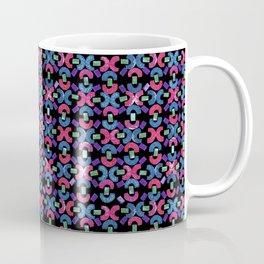 Chain Rubber Stamp Pattern Design (Black Background) Coffee Mug