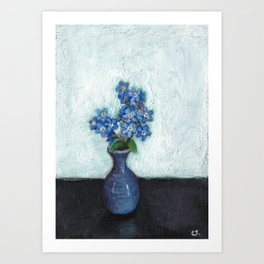 Forget-me-nots in tiny vase - painting Art Print