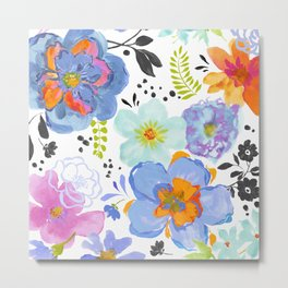 Mixed Media Flowers with Black Accent Flowers Metal Print