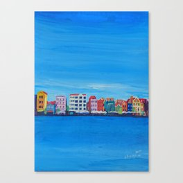 Willemstad Curacao Waterfront in Blue Canvas Print