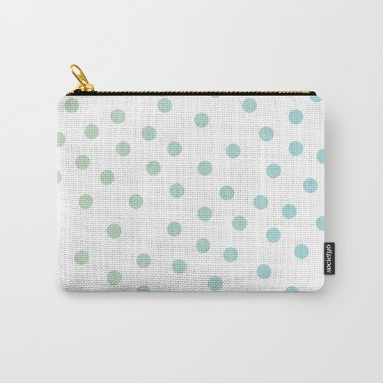Simply Dots in Turquoise Green Blue Gradient on White Carry-All Pouch