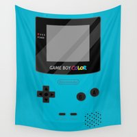 gameboy Wall Tapestries featuring Gameboy Color - Teal by katy-makes-things