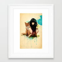 hearts Framed Art Prints featuring Fox Love by Ariana Perez