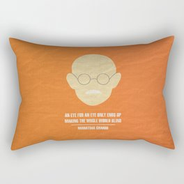 "Mahatma Ghandi - ""An eye for an eye only ends up  making the whole world blind."" Rectangular Pillow"