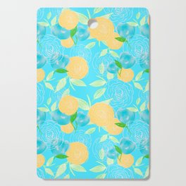 06 Yellow Blooms on Blue Cutting Board