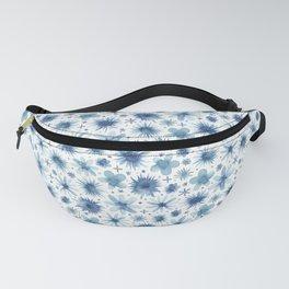 indigo brush floral Fanny Pack