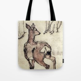Deer | Watercolored Etching Tote Bag