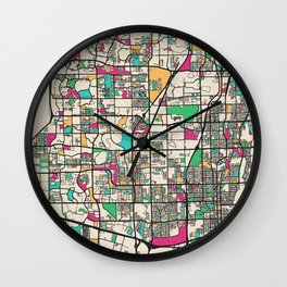 Colorful City Maps: Fort Lauderdale, Florida Wall Clock