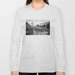 Halloween Graveyard   Horror   Black and White Cemetery   Gothic Graves   Long Sleeve T-shirt
