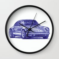 porsche Wall Clocks featuring Porsche 911 by Rafael Augusto