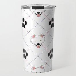 American Eskimo Paw Print Pattern Travel Mug
