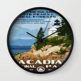 Vintage poster - Acadia National Park Wall Clock