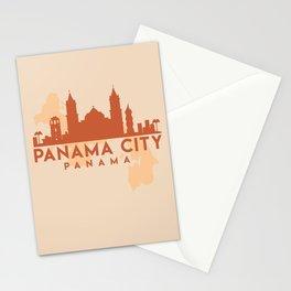 PANAMA CITY MAP SKYLINE EARTH TONES Stationery Cards