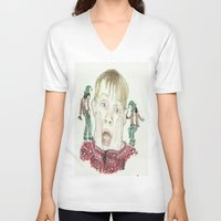 home alone V-neck T-shirts featuring Home Alone by Jillian Doherty