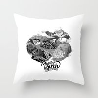 middle earth Throw Pillows featuring Middle Earth New Zealand by Guiso