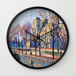 View of Notre Dame from the Quay Montebello by Maximilian Luce Wall Clock