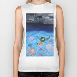 Sea life destruction  Biker Tank