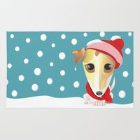 jack russell Area & Throw Rugs featuring frozen jack russell with red scarf and red hat by Marina Ljubanovic