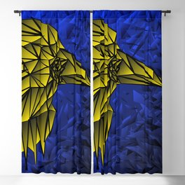 Bright volumetric yellow bird on a blue background. Blackout Curtain