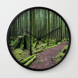 All covered with green moss magic forest Wall Clock