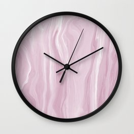 Marblesque Light Pink 1 - Abstract Art Marble Series by Jennifer Berdy Wall Clock