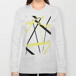 Criss Crossed Lemon Yellow and Black Stripes on White Long Sleeve T-shirt