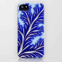 Abstract Blue Christmas Tree Branch with White Snowflakes iPhone Case