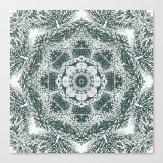 Winter snowy spruce forest mandala Canvas Print