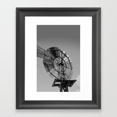 Antique Windmill Black and White Photography Framed Art Print