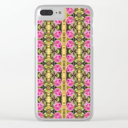 Pink roses with golden stripes pattern Clear iPhone Case