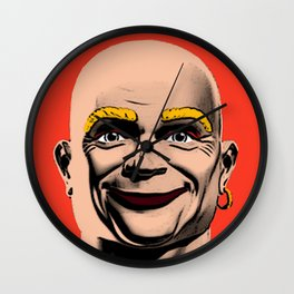 Mr Clean Pop Art on red background Wall Clock