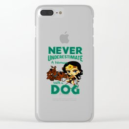 woman with a dog Clear iPhone Case