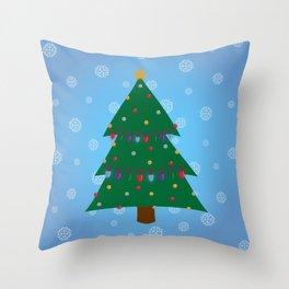 Christmas Tree - Blue Throw Pillow