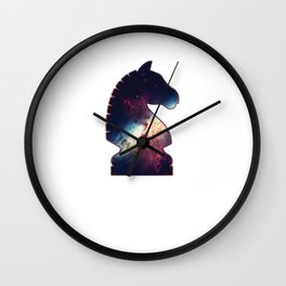 Chess Player Horse Knight Abstract Galaxy Pattern Wall Clock