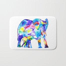 Colorful family elephants Bath Mat