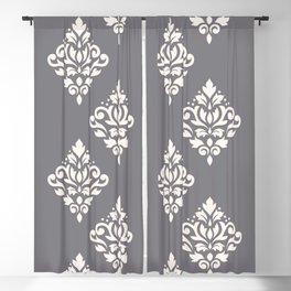Scroll Damask Art I Cream on Grey Blackout Curtain