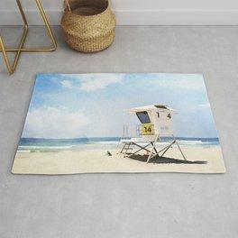 California Beach Photography, Lifeguard Stand San Diego, Blue Coastal Photograph Rug
