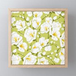 White freesia on a green background Framed Mini Art Print