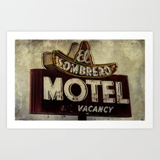 Vintage El Sombrero Motel Sign Art Print