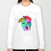 pit bull Long Sleeve T-shirts featuring Love is a pit bull by Shay by design
