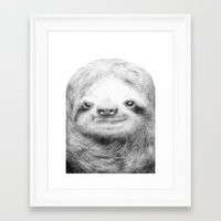 sloth Framed Art Prints featuring Sloth by Eric Fan