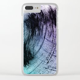 Wide Sweeping Black Brushstrokes with Aqua and Purple Clear iPhone Case