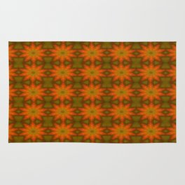 Autumnal Leaves Red and Green Repeating Pattern Rug
