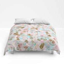 Wonky Watercolor Sea Foam Glitter Mermaid Scales Comforters