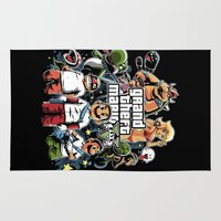 grand theft auto Area & Throw Rugs featuring Grand Theft Mario by Fuacka