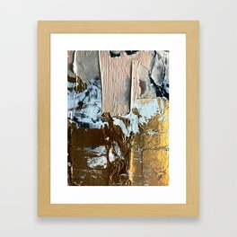 Compelling: a minimal, abstract mixed-media piece in gold, pink, black and white by Alyssa Hamilton Framed Art Print