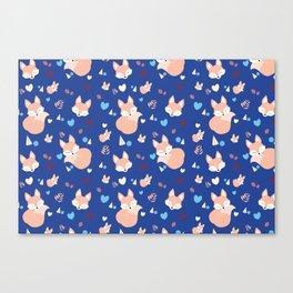 Navy sleeping fox in Wood Canvas Print