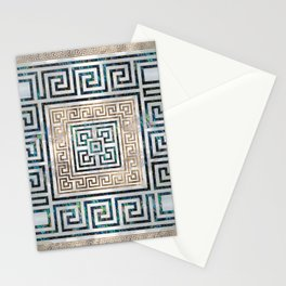 Greek Key Ornament - Greek Meander -Abalone and gold Stationery Cards